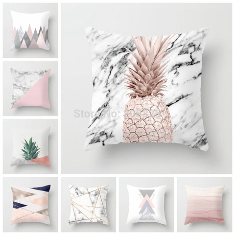 Pink Geometric Nordic Cushion Cover Tropic Pineapple