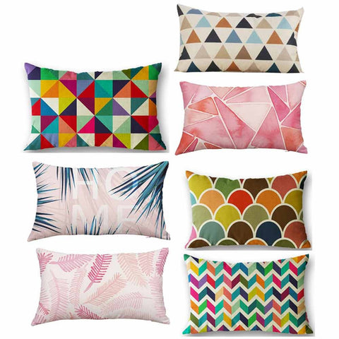 rectangle silk decorative printing pillow covers