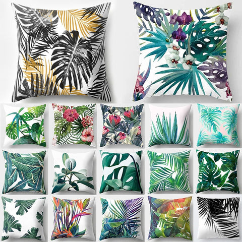 Tropical Cactus Monstera Summer Cushion Cover