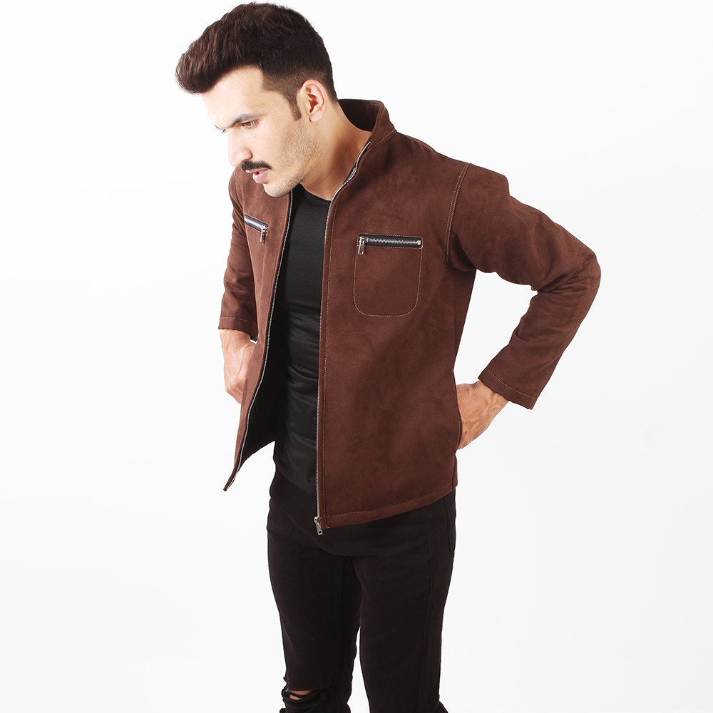 Raw Brown Suede Leather Jacket