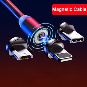 Magnetic Cable Braided LED Type C Micro USB magnetic usb charging cable for Apple iphone X 7 8 6 Xs Max XR Samsung s9 cord