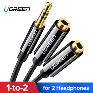 Ugreen Headphone Splitter Audio Cable 3.5mm Male to 2 Female Jack 3.5mm Splitter Adapter Aux Cable for iPhone Samsung MP3 Player