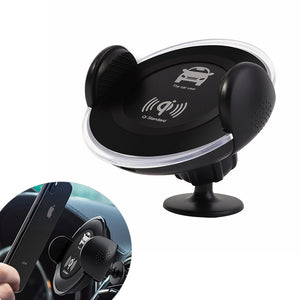 QI Car Mount Wireless Charger Fast Charging Dock Phone Holder For Samsung S10/S9/S8/S7 IPhone X/XS/XR/8Plus/8