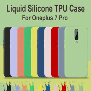 8 Color Liquid Silicone Case For Oneplus 7 Pro Back Case Cover Oneplus 6 6T 7 Pro 5g 12gb Cover Microfiber Case