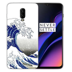 Sea Wave Art Spray Luxury Silicone Phone Back Case For OnePlus 7 Pro 6 6T 7Pro 5G Fundas Painted Printing Cover Coque