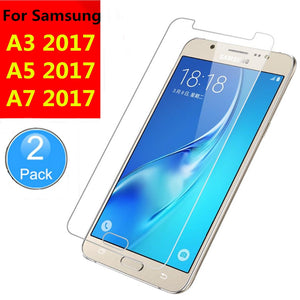 2Pcs Premium Tempered Glass For Samsung Galaxy A3 A5 A7 A320 A520 A720 (2017 TYPE )Screen Protector Protective Film Guard Verre