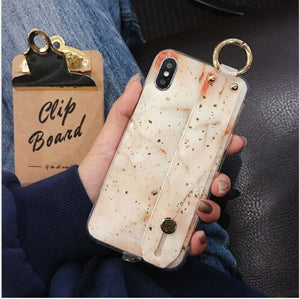 Gold foil Phone Case Holder Stand for iPhone 6s 6plus 7 8 7plus 8plus X XS XR XS MAX Silicon Popular Luxury Case in Car Grip