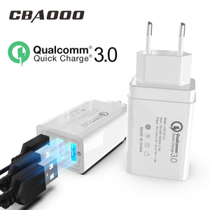 18W Quick Charge 3.0/2.0 USB Charger QC3.0 Wall Mobile Phone Charger for iPhone X Xiaomi Mi 9 Tablet iPad EU QC Fast Charging