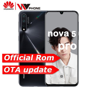 Huawei Nova 5 Pro Mobile Phone 48MP Quad Camera NFC Kirin 980 6.39 inch 40W SuperCharge 3500mAh In-screen Fingerprint Smartphone