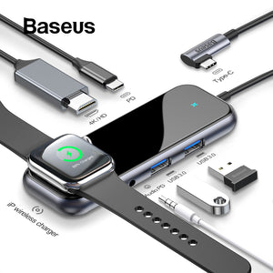 Baseus USB C HUB to USB 3.0 HDMI RJ45 Adapter for MacBook Pro Air Multi Type C HUB with Wireless Charge for iWatch USB-C HUB