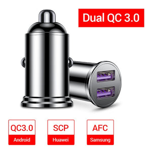 FIVI Car Charger Dual USB Quick Charge QC 3.0 Metal For Samsung S8 S9 S1Xiaomi Huawei Mini Mobile Phone Fast Charger 36W Adapter
