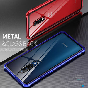 Luxury Shockproof Armor Case For Oneplus 7 Pro One Plus Oneplus7 7Pro Phone Metal Bumper &Back Glass Cover One plus 7 Pro Case Q