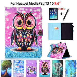 "Case For Huawei MediaPad T3 10 AGS-W09 AGS-L09 AGS-L03 9.6"" Cover Funda Tablet Cartoon Painted Flip Stand Shell Coqute +Film+Pen"