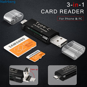 Natrberg Micro USB OTG Adapter 3 In 1 Card Reader Memory SD Card Mini TF Read Type C Memory Stick USB C For Android Phone