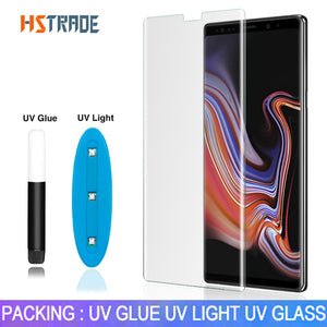 UV Liquid Curved Full Glue Tempered Glass For Samsung Galaxy S8 S9 10 Plus Note 8 9 S10 Lite Screen Protector Full Cover Film