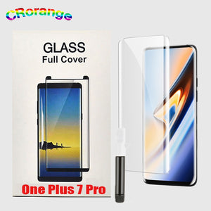 10D UV Glass For Oneplus 7 Pro Tempered Glass Full Cover Case 1+7 Pro Full Glue Liquid Screen Protector With UV Light UV Glue