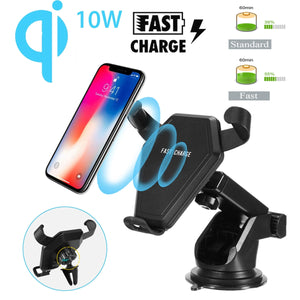 10W Qi Wireless Charger Dock 360 Rotate Gravity Auto Lock Clip Fast Charging Charger Phone Holder for iPhone XR for Samsung S10e