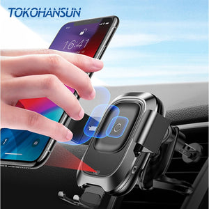 TOKOHANSUN Car Wireless Charger For iPhone Xs Max XR Samsung Intelligent Infrared Sensor Fast Wirless Charging Car Phone Holder