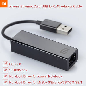 Original Xiaomi USB to RJ45 Ethernet Card Adapter Cable External 10/100Mbps for mi BOX 3 3C 3S 4 4C SE Laptop PC Notebook Usb2.0