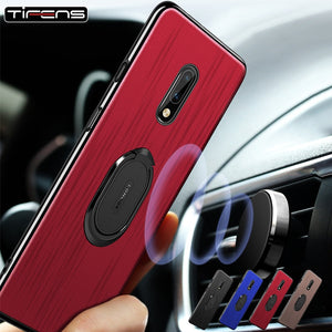 Cloth Texture 1+7 Magnetic Case For Oneplus 7 Pro Luxury Fabric 1+7pro Car Holder Phone Protect Cover For Oneplus7 Celular Coque
