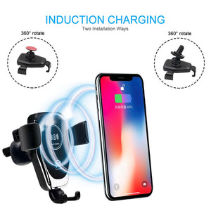 Qi Car Wireless Charger for iPhone 8 8Plus Xs Max Xr X Samsung Galaxy S10 S9 Gravity Sensor Wirless Charging Car Phone Holder