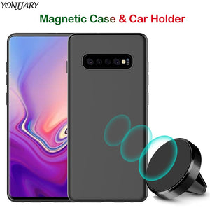 Matte Soft TPU Magnetic Case for Samsung Galaxy S9 S10 Plus S10e Cover Hide Metal Plate with Magnet Car Phone Holder S9+ S10+