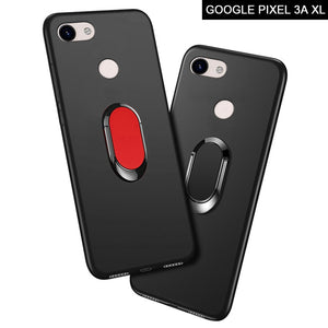 "Google Pixel 3A XL G020C G020G Case luxury 6.0"" Soft Black Silicone Magnetic Car Holder Ring Cover for Google Pixel 3A XL Cases"