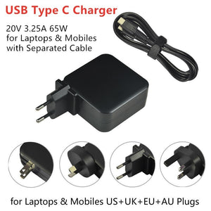 20V 3.25A 65W USB C Type C Universal Laptop Power Adapter Charger for Lenovo Yoga 5 Pro X1 T470p Asus B9440UA UX390 US+UK+EU+AU