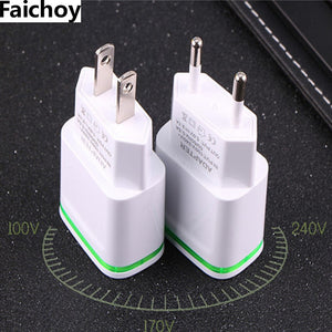 Faichoy 2 USB Ports Adapter Mobile Phone Wall Charger Device Micro Data Charging 5V/2.1A EU/USA Plug LED Light For Smart Devices