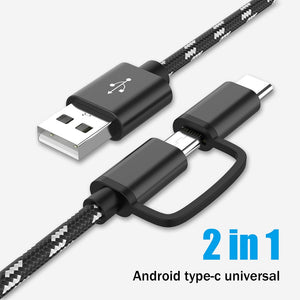 1m USB Type C Micro USB 2 IN 1 Fast Charge Cable For Xiaomi Huawei Samsung S9 Nokia Sony Oukitel Mobile Phone Charging Cables