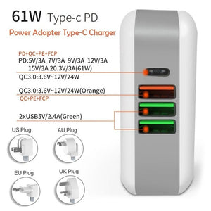 61W PD Multiport Type-C Charger AC/DC Power Adapter QC3.0 Quick Charge Type-C Laptop Adapter For iPad iPhone MacBook Pro