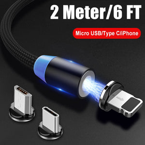 2 Meters 6ft Long Magnetic Charger for iPhone Magnet Cable Micro USB Type-C Fast Charging Cable for Samsung Huawei Hornor Xiaomi