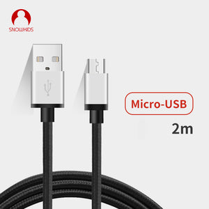 Snowkids Android Long Micro USB Cable 2Pieces/Lot 2m Fast Charge Cable for Samsung Huawei xiaomi LG Andriod  Nylon Metal