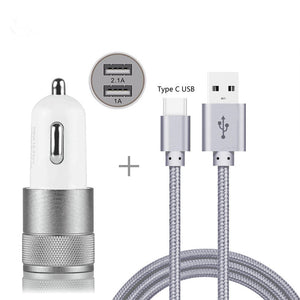 Car Charger Adapter For Sony Xperia XA3 XZ3 XA2 XA1 R1 Plus Ultra XZ2 XZ1 XZ Premium Compact L2 L1 Nylon Type-C USB Cable