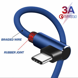 90 Degree Elbow USB Type C Cable for Samsung S9 S8 Fast Charge for Huawei P30 Pro Xiaomi Redmi Note 7 Charging Data Cord Cable