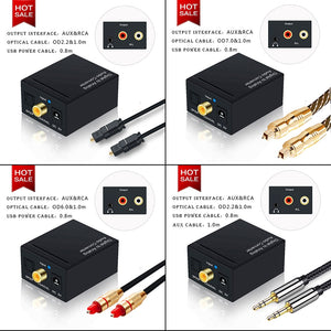 Digital to Analog Audio Converter Optical Cable Optical to RCA Audio Cable RCA Adapter Toslink To Analog RCA 3.5mm Jack 2.1CH