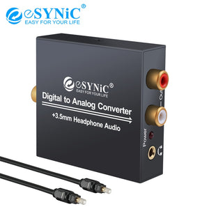 eSYNiC DAC Digital to Analog Analogue Audio Converter Adapter Coax Coaxial Optical Toslink RCA R/L Optical to RCA 3.5mm Jack
