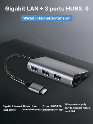 USB C HUB USB C Type C to RJ45 Ethernet Network USB 3.0 PD Charging Adapter Thunderbolt 3 for MacBook Pro Samsung S8 S9 Huawei