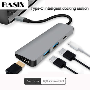 Basix USB C HUB USB-C To HDMI 4K Hub USB 3.0 Adapter PD/Micro Usb  Charging Port for MacBook Pro Samsung Galaxy S8 Type C Hub