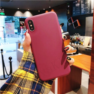Luxury Soft Back Matte Color Cases for iPhone 7 plus 8 6 6s X XS max XR 5 5s SE Case Shockproof TPU Silicone Back Cover Capa