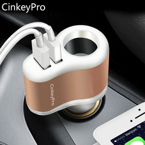 CinkeyPro Car-Charger Cigarette Lighter Car Charger Adapter 2.1A 2-Port USB Smart Mobile Phone Charging For iPhone 6 iPad XiaoMi