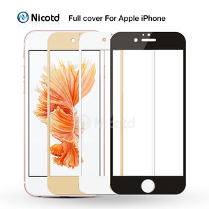Full Cover Tempered Glass For iPhone 7 6 6S Plus 2.5D Screen Protector Film for iphone X 8 7 Plus glass protection Black White