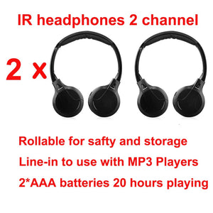 IR Infrared Wireless headphone Stereo Foldable Car Headset Earphone Indoor Outdoor Music Headphones TV headphone 2 headphones