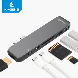 Hagibis 7-in-1 Dual USB-C HUB Type-C Hub Adapter USB-C to HDMI SD/TF Card Reader PD Charging 4K HD for MacBook Pro USB 3.0 HUB