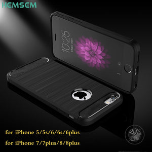 Hemsem Carbon Fiber Phone Case for iPhone 8 Case 5 6 6s 7 plus Cover for iPhone X XR XS Max shockpoof Rugged protected spigene