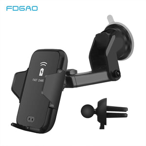 FDGAO 10W QI Wireless Car Charger Fast Charging Automatic Induction Car Phone Holder For iPhone XS MAX XR 8 Samsung S9 S8 Note 9