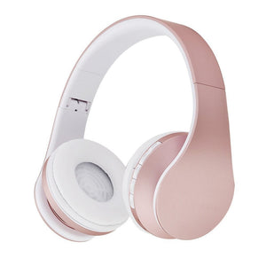 Fashion Rose Gold Wireless Bluetooth Headphones Headset with Microphone Bluetooth On Ear Headphone for Women Girl Kids