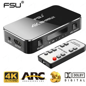 FSU UHD HDMI Switch 2.0 4K HDR 4x1 Adapter Switcher with Audio Extractor 3.5 jack optical fiber cable ARC splitter for HDTV PS4