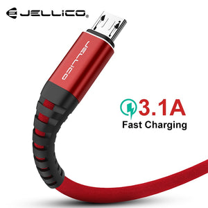Jellico 120CM Hi-Tensile Micro USB Cable for Samsung Xiaomi LG USB 3.1A Fast Charging Data Braided Charger Android Mobile Phone