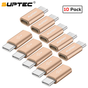 SUPTEC 10 Pack USB Adapter USB Type C to Micro USB OTG Cable Type-C Converter Connector for Macbook Samsung S9 S8 Huawei P20 P10
